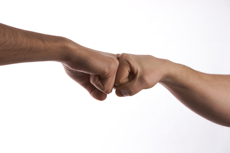 Modern handshake of two male people, isolated on white Stock Photo
