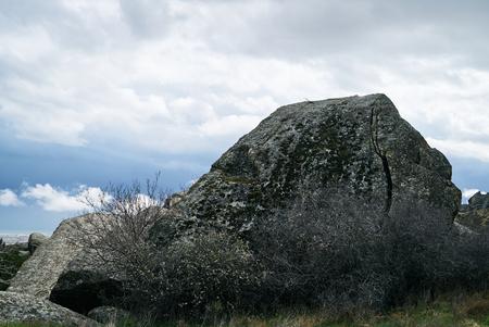 Qobustan national park antient rocks, rock paintings and mountains near Baku in Azerbaijan
