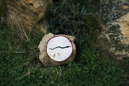 baku: Warning animal sign for snake, especially viper crossing the road in the national park of Gobustan, Azerbaijan, Baku. Be careful. Stock Photo