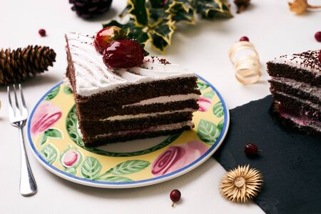 delicious christmas dessert cake with fresh strawberries slice of cake with souffle strawberrie - Christmas Dessert Decorations