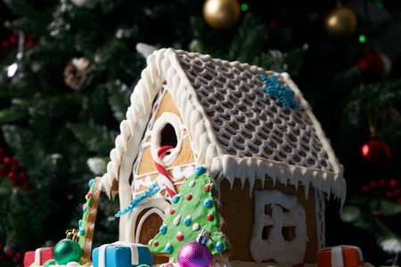 Gingerbread house with Christmas trees