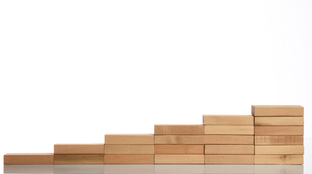 Wood block stacking as step stair