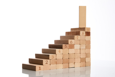 Stock Photo   Wood Blocks Stacking As Step Stair