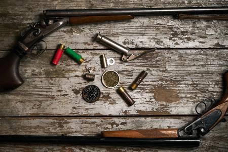 Shotgun, hunting cartridges with gunpowder
