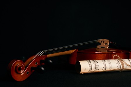 Violin and music notes.