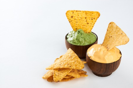 Mexican Nachos with cheese and guacamole sauce