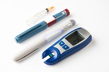 Diabetic equipment isolated on white
