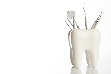 Dental tooth model with metal medical dentistry equipment tools for teeth dental care isolated on white background with copy space, close-up. Oral dental hygiene concept Stockfoto
