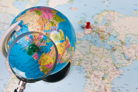 Planing For Travel To France Paris With Worldmap Globe Magnifying ...