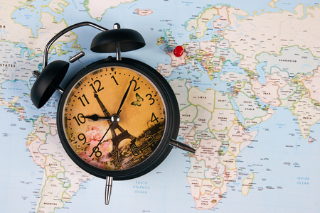 Planing for travel to france paris with worldmap globe and alarm planing for travel to france paris with worldmap globe and alarm clock travel time in gumiabroncs Image collections