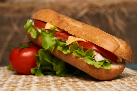 Fresh submarine sandwich with chicken fillet, cheese, fresh tomatoes, lettuce, cucumbers and onions on wooden background