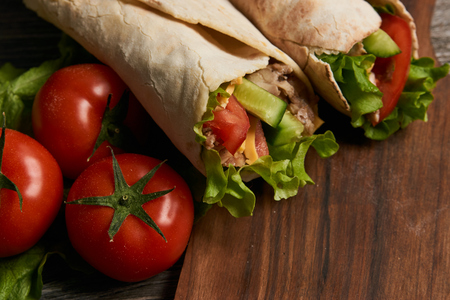 Shawarma Sandwich with fresh vegetables and chicken grilled meat, Doner Kebab, Chicken Shawarma, Burrito
