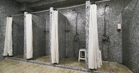 Empty Showers in modern Gym Locker Room Archivio Fotografico