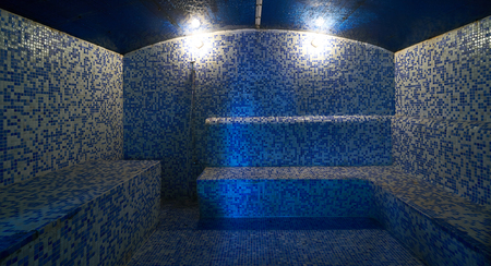 Interior of luxury turkish bath hammam. Traditional Turkish bathroom. Classic Turkish sauna hammam