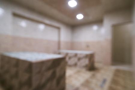 Blurred traditional turkish bathroom hammam interior in spa