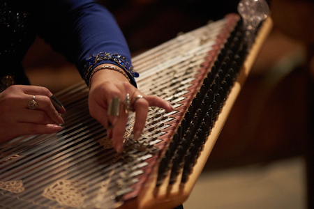 Woman Hands playing on a harp, close-up