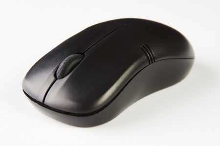 Wireless computer mouse isolated on white background, close-up. Black optical computer mouse. 版權商用圖片