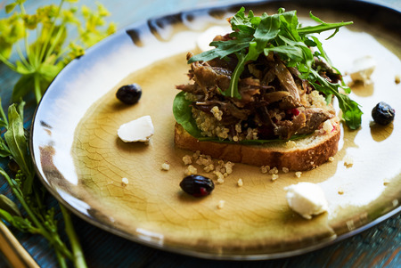 Breakfast toast bread with duck meat and quinoa, close-up. Stock Photo