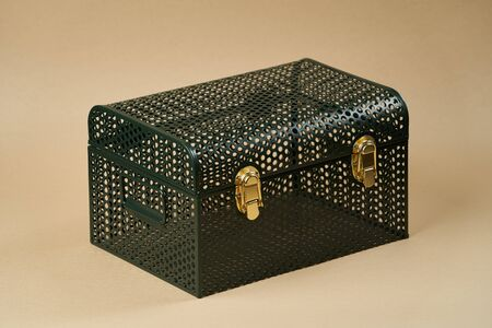 Green metal chest crate box on gray background with copy space, close-up Stock fotó