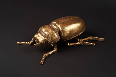 Golden scarab beetle on black background with copy space. Egyptian Scarab, close-up Stock fotó