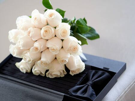 Wedding flowers bouquet, close-up. Bridal Bouquet of white Roses