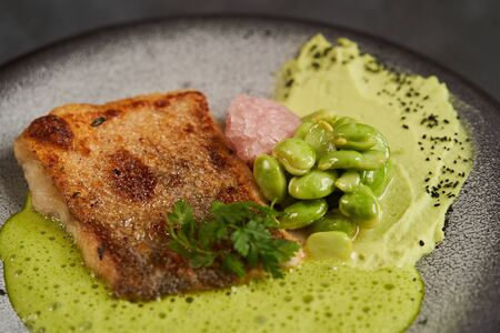 Pike perch fillet with green bean edamame puree and sauce, close-up, top view