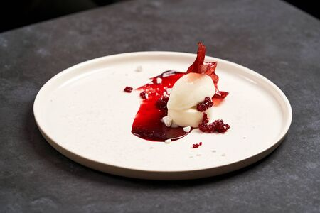 Raspberry ice cream with sweet syrup on gray table background with copy space. Raspberry Sorbet on a white plate, close-up.  写真素材