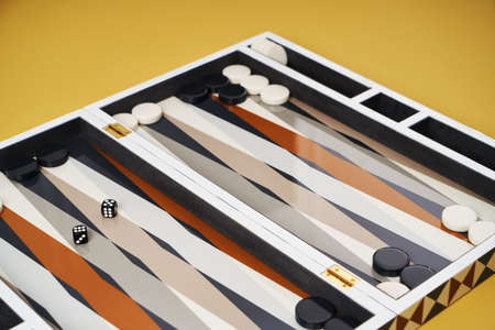 Board game backgammon. Open backgammon game with dice, close-up