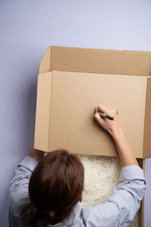 Woman hands writing on cardboard box, top view. Female hands holding gift or present box. Parcel delivery 免版税图像