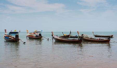 long tail: Long tail boats close to te beach