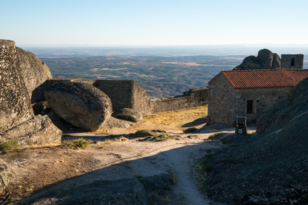 Historical wall of te old castle in Monsanto village, Portugal