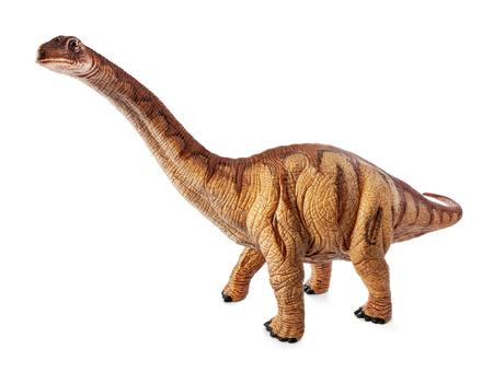 アパトサウルス恐竜のおもちゃは、クリッピングパスと白い背景に隔離されています。ジュラ紀後期