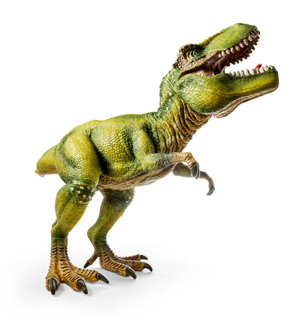 Wide view of Tyrannosaurus, side view, dinosaurs toy isolated on white background with clipping path. Stock Photo