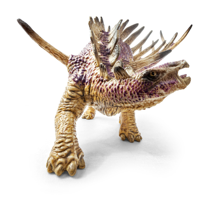 Kentrosaurus dinosaur toy isolated on white background with clipping path. Genus of stegosaurian dinosaur from the Late Jurassic of Tanzania. Stock Photo - 94253558
