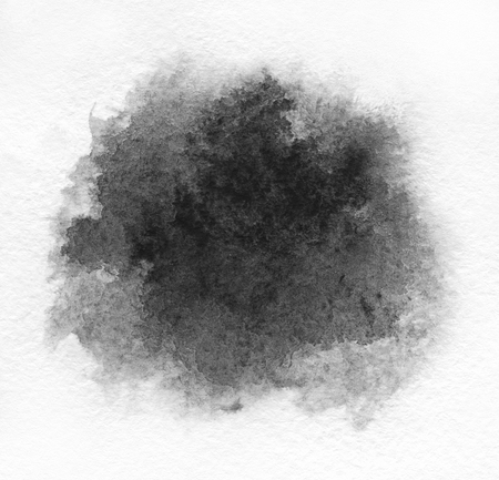 Art of Watercolor. Black spot on watercolor paper. Stock Photo
