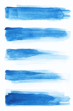 Blue abstract painted ink strokes set on watercolor paper. Ink strokes. Flat kind brush stroke. Watercolor.