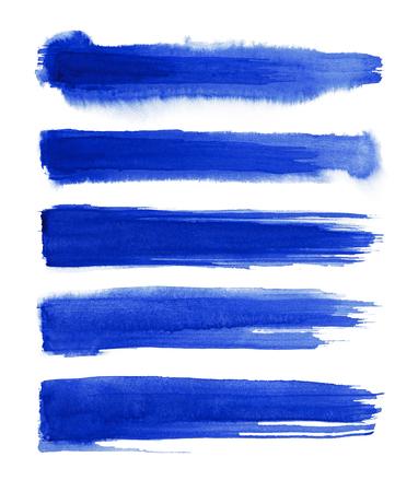 Bleu abstraite éclaboussures d & # 39 ; encre à encre fixés sur aquarelle croquis brosse à plat. brosse à coucher aquarelle . feuille de goutte d & # 39 ; aquarelle Banque d'images - 96001310