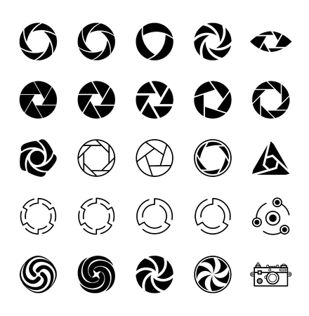 Aperture and Photo. Set of Icons. Vector illustration.