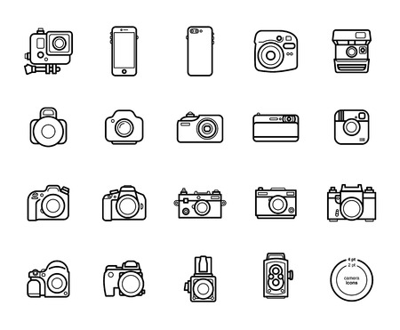 Set of Line Camera Icons on White Background. Smartphones, Action, Digital and Film Photo cameras Legendary Brands