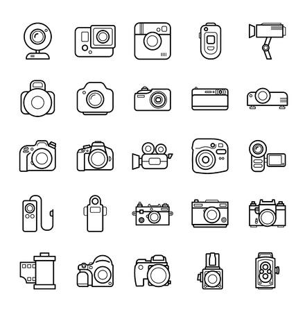 Set of Line Camera Icons on White Background.  イラスト・ベクター素材