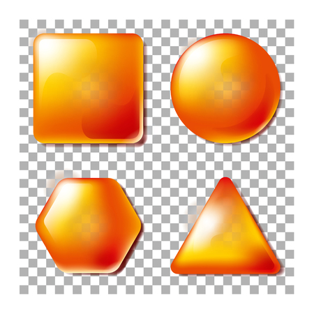 3D Opacity Square, Circle, Hexagon, Triangle. Set of blank and transparency. Illustration