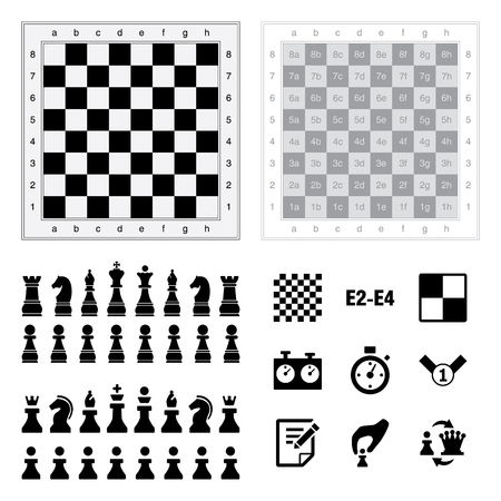 Chess icons on white background Vector illustration.