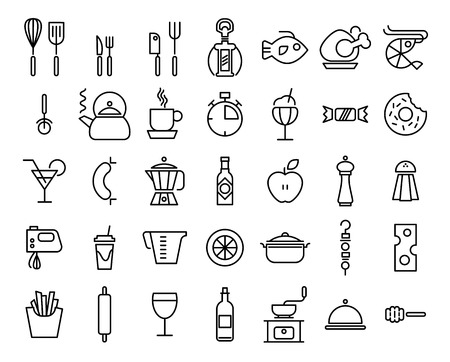 Set of Line Kitchen and Food Icons on White Background. Vector illustration.
