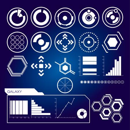 Futuristic user interface. Set of white infographic elements Vector illustration.  イラスト・ベクター素材