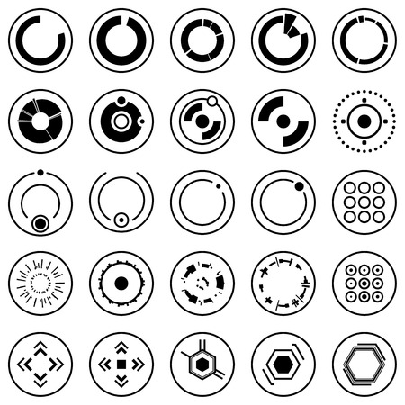 Futuristic icons of Set of info graphic elements and symbols for user interface  イラスト・ベクター素材