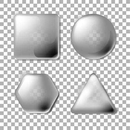 3D Opacity Square, Circle, Hexagon, Triangle. Set of blank and transparency gray buttons for website or app.