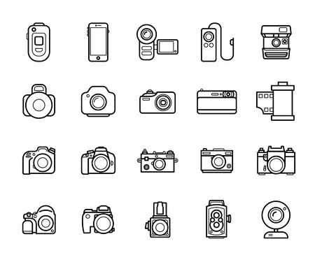 Set of Line Camera Icons on White Background. Smartphones, Action, Digital and Film Photo cameras Legendary Brands.
