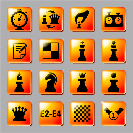 Chess icons on the orange buttons. Vector illustration.