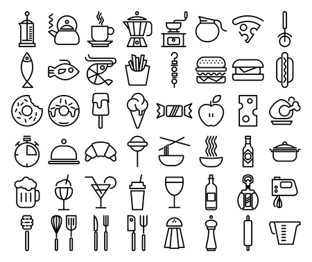 Set of Line Kitchen and Food Icons vector illustration