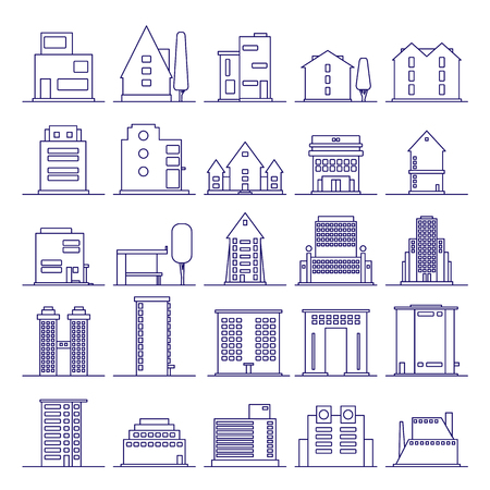 Set of modern futuristic building icons outline. Buildings and houses in minimalist line icon